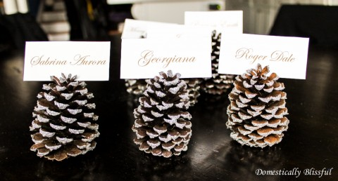 silver-sparkly-pinecone-place-card-holders